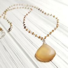 FACETED TOURMALINE, CHALCEDONY PENDANT STERLING SILVER NECKLACE - SWEET!
