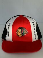 Vintage 70s 80s Chicago Blackhawks NHL Hockey Mesh Snapback Hat Cap Taiwan ROC
