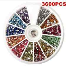 3600PCS Lots 1.5mm Rhinestones Glitter Nail Art Decoration 3D Tips Gem Wheel FT