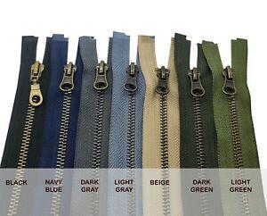 Antique Brass METAL Zips Size #5 Strong Zipper Fastener Open End Single Slider