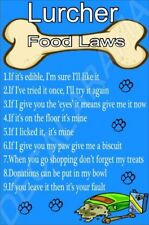 LURCHER FOOD LAWS Novelty Laminated Sign - Ideal Gift/Present