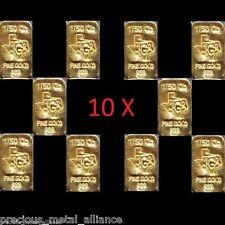 GOLD 2/10 TROY OUNCE OZ 24K PURE SOLID PREMIUM BULLION BAR 9999 FINE INGOT LOT