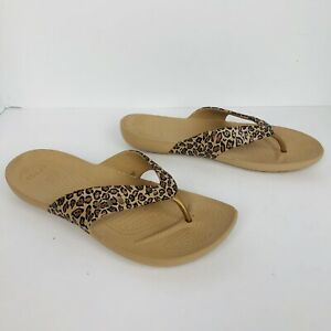 Crocs Flip Flops Women's Sz 11  Leopard Print comfortable shoes sandals