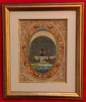 Hand Painted Peacock Bird Miniature Painting India Framed Artwork Carving
