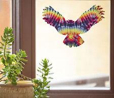 """CLR:WND - Rainbow Tie Dye Owl -See-Through Vinyl Window Decal ©YYDC (8""""w x 5.5"""")"""
