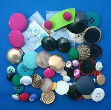 2 ounces vintage fabric metal plastic buttons hot pink aqua gold +