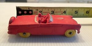 Vintage 1950's Auburn Rubber Red Toy Cadillac Convertible Car