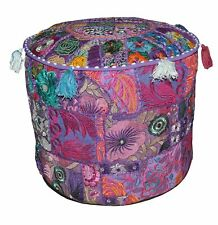 Hippie Round Ottomans Case Throw Patchwork Bohemian Footstools Pouffe 18'' Cover