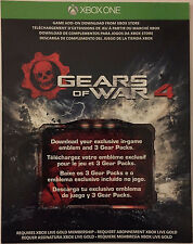Gears Of War 4 Emblem And 3 Gear Packs DLC Card From JD Fenix | New Unused