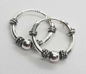 925 Sterling Silver Small Bali 12 mm Hoop Sleeper Earrings #1
