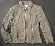 Vtg Jordan and Cole Tweed Jacket M Zip Up Herringbone Blazer Coat Lined