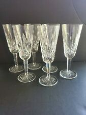 "6 Waterford Ireland Crystal Lismore Champagne Flutes Glasses Stemware 7.25"" U31"
