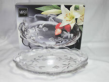 Vintage MIKASA GARDEN TERRACE Crystal Glass Oval Plate 28cm New & Unused - 1970s