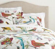 Pottery Barn Fauna Bird Print Organic Percale King Duvet Cover with Euro Shams