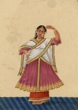 Company School 19th siècle Indian Mica peinture gouache Sari Dancing Girl III