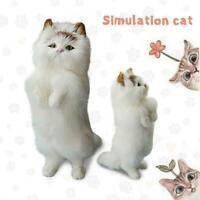 Realistic Lifelike Cat Animals Model Plush Toy Stuffed UK Kid Xmas Doll S9P9