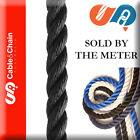 16mm X PER METER - BLACK - 3 strand Polyester - Mooring Line (1 = 1 Meter)- Rope