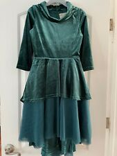 Joyfolie Mia Joy Girls 12 Nina Victorian Velour Dress Juniper Green Holiday EEUC
