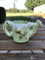Vintage Shafer 23K Gold Guaranteed Light Green Watering Can Planter Gilded Rose