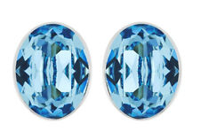 Swarovski Bis Pierced Earrings Blue Oval-Shaped Crystal Authentic MIB - 5093920