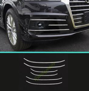 6PCS Stainless Front Fog Light Lamp Decorative Strip Trim For Audi Q7 2016-2019