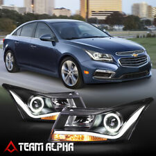 Fits 2011-2015 Chevy Cruze <LED L-BAR DRL/HALO> Black Projector Headlight Lamp