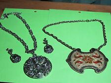 CHUNKY SILVER TONE NECKLACE EARRINGS VINTAGE & INDIA NECKLACE BRASS ENAMEL