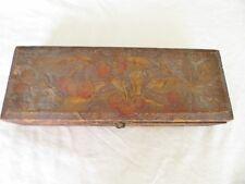 Antique Pyrography 1920' Flemish Art Co. 681 burnt wood glove box w Cherry