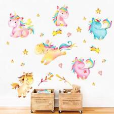 decalmile Coloré Licornes Stickers Muraux Chambre Bébé Autocollants Mural Enfant