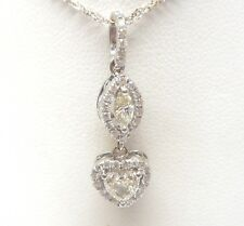 14K WHITE GOLD HEART SHAPED/MARQUISE/ROUND DIAMOND NECKLACE RETAIL $3199 JG1