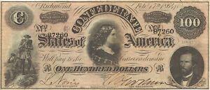 1864 $100 CONFEDERATE CIVIL WAR CURRENCY ~ LUCY PICKENS ~ SUPER SHARP CRISP NOTE