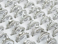 10pc/5set Wholesale Jewelry Bulk Mixed Silver Plated Clear Crystal Finger Rings