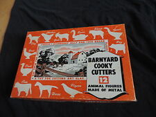 Vintage Barnyard Cooky Cookie Cutters w/ Box Chicken Pig Cow Horse & More (e21)