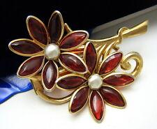 Vintage Flower Fur Clip Red Gripoix Glass Petals Faux Pearl Center Gold Tone