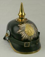Leder Pickelhaube Sachsen Infanterie Deutsches Reich Kaiserreich LARP ungetragen