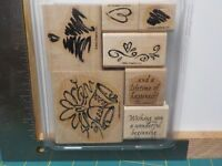STAMPIN UP A LIFETIME OF HAPPINESS SET 7 WOOD MOUNTED RUBBER STAMPS EUC A13427