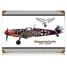 "12"" x 18"" German WW2 Vintage Metal Sign: Messerschmitt Fighter"