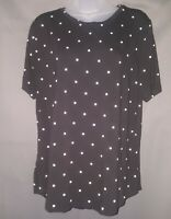 OLD NAVY Black & White Polka Dots Stretchy Soft COMFY Cute Top NEW w/Tags SizeXL