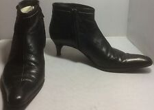 Pre-Loved BCBG Max Azria Black Leather Zip Kitten Heel Booties Sz 7.5 EUC