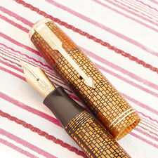 Vintage PARKER VACUMATIC Gold Tiger WEB Semi-Transparent Twin-Jewel Fountain Pen