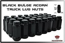 "24 Pc 14x1.5 Black Bulge Acorn XL Tall 2"" Fits 6 Lug Trucks Chevy Gmc Toyota Ram"
