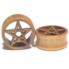 Pair of Wood Ear Tunnels with Carved Pentagram - Organic Gauges Plugs Earrings