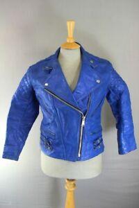 VINTAGE 1970s PUNK ROCK BLUE LEATHER LADIES CLASSIC BIKER JACKET 36 INCH/SIZE 12