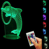 3D LED Dolphin Night Light 7 Color Change Desk Lamp Remote control