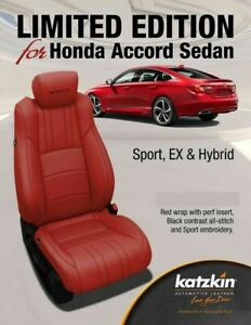 2018 2019 2020 2021 Honda Accord Red Leather Seat Covers Upgrade EX Sport Hybrid