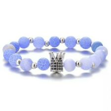 Crystal Studded Crown Charm Natural Stone Bead Chuck Bracelet Blue Shades Silver