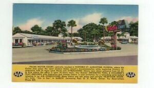 "FL St. Augustine Florida antique linen post card ""Palms Motor Court Motel"""