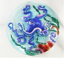 Octopus fused glass hand painted plate table decor
