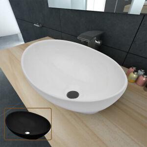 Keramik Waschtisch Waschbecken Oval Waschplatz Waschschale Weiß/Schwarz