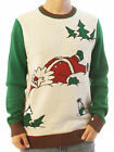 Ugly Christmas Sweater Men's Drunk Santa Snow Angel Holiday Sweater